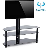 TAVR TV Stand with Mount 3-in-1 Flat Panel Entertainment Stand Tempered Glass Shelve,VESA patterns up to 600 x 400,for Most 32-65 TVS (3 Tiers)