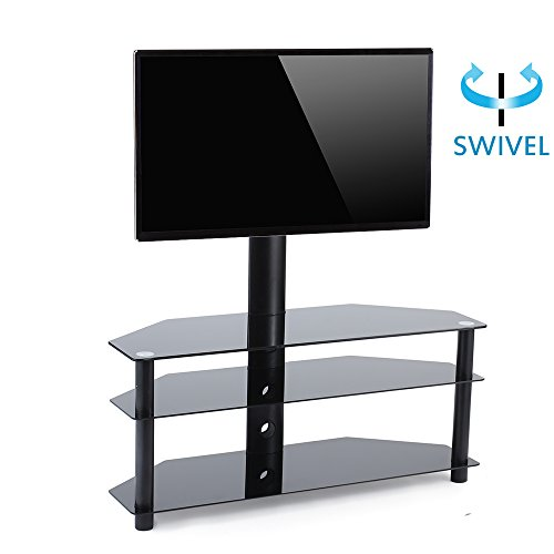 TAVR TV Stand with Mount 3-in-1 Flat Panel Entertainment Stand Tempered Glass Shelve,VESA Patterns up to 600mmx 400mm,for Most 32-60 inch Plasma LCD LED Flat or Curved Screen TVs ()