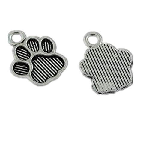 - Julie Wang 100PCS Antiqued Silver Cat Paw Foot Prints Charms Pendants for Jewelry Making DIY 15x11MM