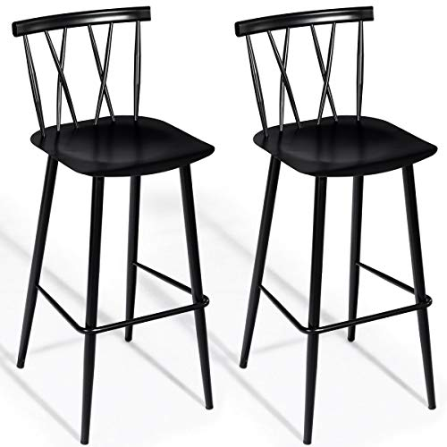 COSTWAY Bar Stool with Backrest and Sturdy Metal Frame Bar Chair Dining Chair with Back & Footrest Modern Barstool for Home, Kitchen, Balcony, Bar, Pub and Garden Set of 2 from COSTWAY