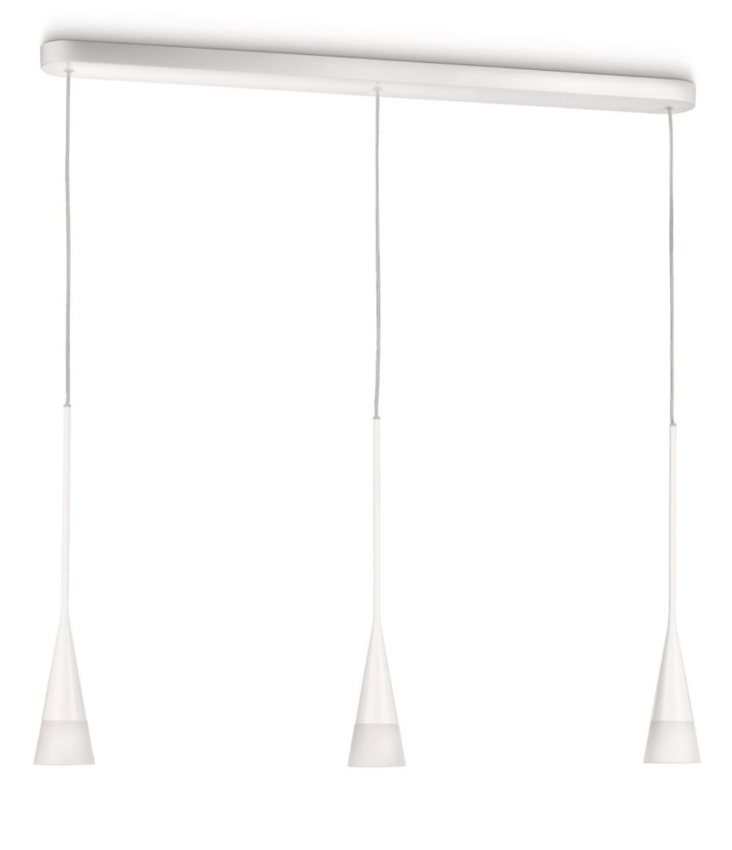 Philips myLiving Innery Energiespar- Pendelleuchte mit 12W, inklusive Leuchtmittel, 3-flammig, Weiß, 407123116