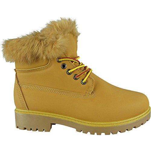 8 piel con 3 para Loud tamaño del zapatos trabajo Look botines zapatos combate camel de ejército forro cordones mujer qc4HXTawH