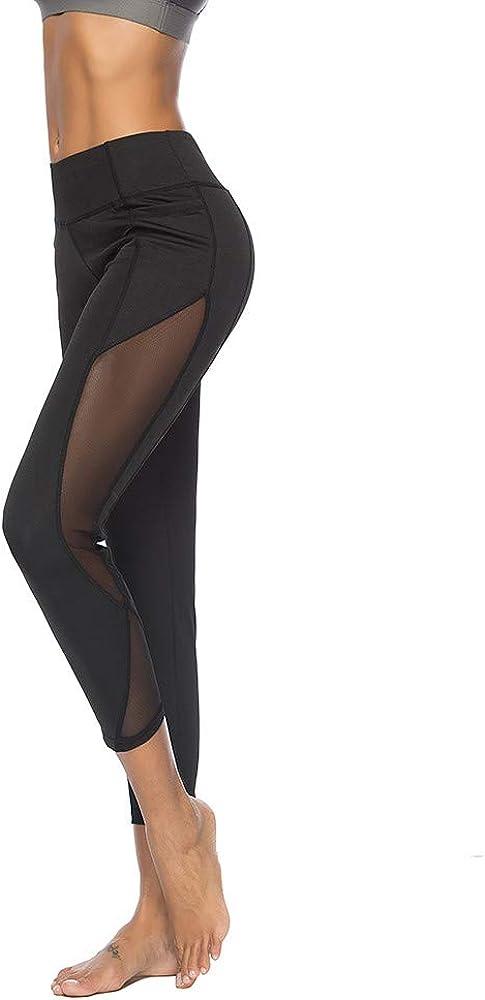 Negro Mallas Transparente Deportivas Mujer Leggings,Sexy Elastico Cintura Altura Polainas Yoga Pantalones Transpirables Deportivos Running Yoga Fitness Gimnasio Quema Grasa Entrenamiento Pantalon
