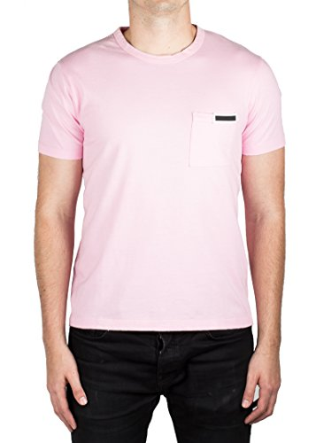 Prada Men's Jersey Cotton Ribbed Crew Neck Logo Patch T-Shirt - Rosa Prada