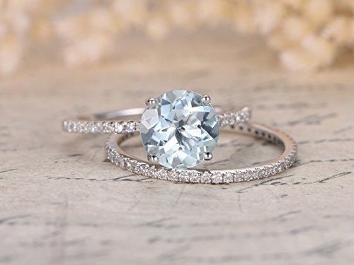 2pcs Aquamarine Wedding Ring Set,6.5mm Round Cut Light Blue Gemstone Solid 14k White Gold Engagement Ring Full Eternity Diamond Stackable Anniversary Bridal Stacking Matching Band - Round Set Aquamarine Wedding