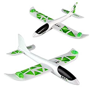 FINERINE Foam Throwing Glider Inertia Led Night Aircraft Toy Hand Launch Airplane Model (Green)