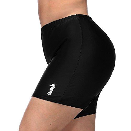 Vegatos Womens Black Plus Size Board Short Sports Swimsuit Tankini Bottoms Boardshorts by Vegatos (Image #3)