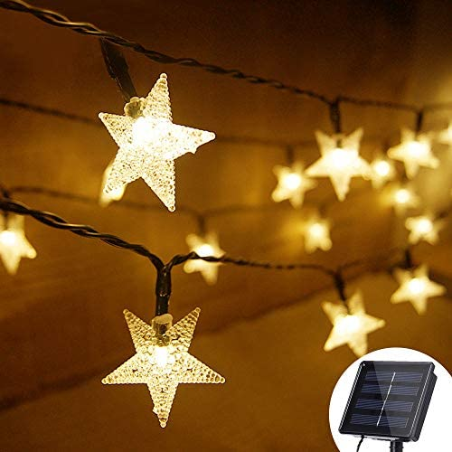 Grezea Solar Twinkle Star String Lights 50 LED 8 Modes Fairy Decorative Light for Garden Patio Lawn Balcony Tree Outdoor Landscape Indoor Decoration for Playhouse Bedroom Curtain Bed Canopy, 21 Warm