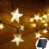 Grezea Solar Star String Lights 21ft 50 LED 8 Modes Solar Powered Twinkle String Lights for Outdoor Ambiance Garden Patio Lawn Landscape Xmas Tree Wedding Decoration Waterproof(Warm White 1PACK)