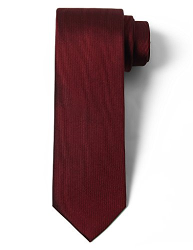 Origin Ties Solid Color 100% Silk Men's Skinny Tie Burgundy
