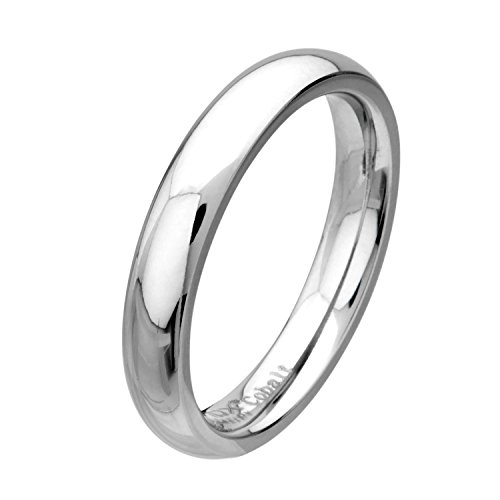 Cobalt Chrome Polish Finish Plain Band Ring, Size 12 by Jewelry Brands