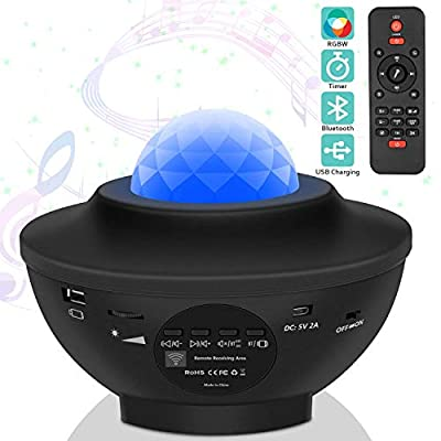 8W Star Projector Night Light, Adjustable Starry Projector with 21 Lighting Modes with Remote Control& Built-in Music Player Ocean Wave Star Projector As Gifts for Birthday Party Bedroom: Home Improvement