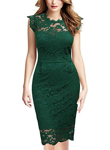 Miusol Women's Retro Floral Lace Slim Evening Cocktail Mini Dress (Medium, Dark Green)