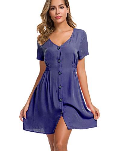 (LOMON A Line Dresses for Women Peasant Flowing Fitted Dress Plus Size Blue)
