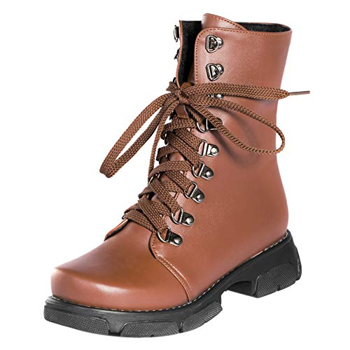 Brown Sole Boots Biker Coolcept Women Thick Fashion 1q7PXBqYwH