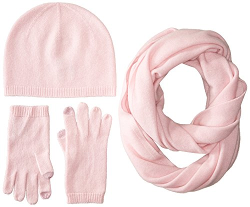 Sofia Cashmere Women's Gift Box Set-Hat, Smartphone Gloves, and Infinity Scarf, Pink, One by Sofia Cashmere