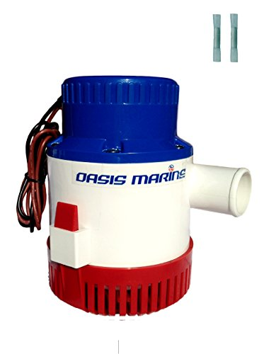 Oasis Marine 3700 GPH 12v Submersible Electric Boat plumbing Bilge Pump 1 1/2 outlet 2 marine heat shrink wire connectors - Pump Bilge Gph 4000