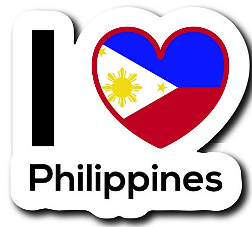 One 5 Inch Decal MKS0223 Love Philippines Flag Decal Sticker Home Pride Travel Car Truck Van Bumper Window Laptop Cup Wall