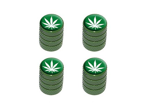 Marijuana Leaf - Weed Pot Tire Valve Stem Caps - - Green Leaf Rim