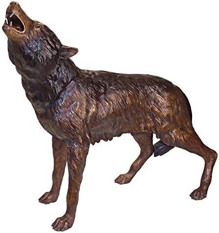 Diseño Toscano el Howl de el jardín Estatua de Bronce Fundido Lobo Salvaje: Amazon.es: Jardín