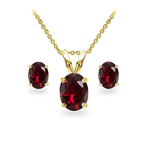 GemStar USA Yellow Gold Flashed Sterling Silver Created Ruby Oval-cut Solitaire Necklace and Stud Earrings Set