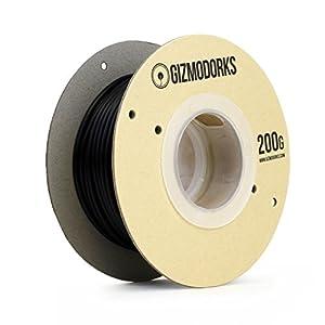 Gizmo Dorks Acetal Delrin Filament for 3D Printers 1.75mm or 3mm 200g, Black