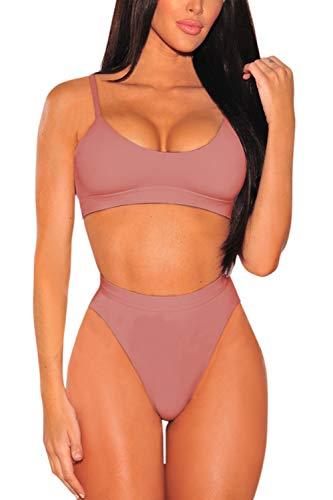 (Pink Queen Women's Strap High Cut High Waisted Cheeky Bikini Set XL Pink)