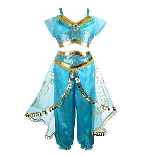 Dressy Daisy Girls Princess Jasmine Dress Up Costumes Halloween Party Fancy Dress Size 4 ()