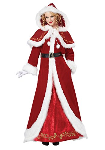 Woman Santa Costume (California Costumes Women's Mrs. Claus Deluxe Adult, Red/White,)