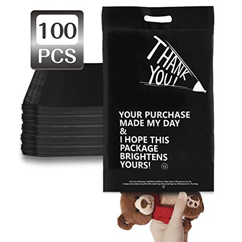 LOVEETA Poly Mailers Shipping Envelopes Bags – 12 x 15 Cute Thank You Poly Mailer with Handle 100 Pack Self Adhesive…