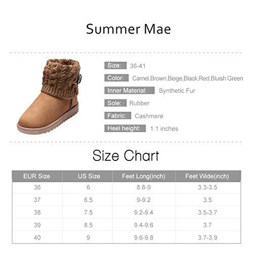 Marrone Scuro A Neve Stivali Donna Mae Boots Lavoro Summer da Maglia v4xz0U1