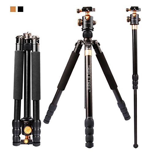 "Price comparison product image Triple Tree Professional Travel Camera Tripod 66"" Flexible Monopod For Canon,  Nikon Digital Cameras with 360° Ball Head and Carry Case"