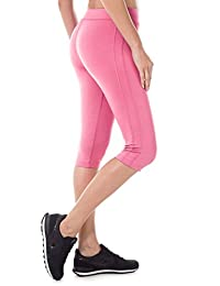 SYROKAN Women's Tights Active Athletic Yoga Running Sports Capris Leggings Hot Pink L