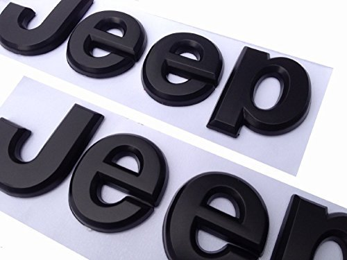 2PCS× Flat Matte Black JEEP Emblem Logo Stickers Cherokee Wrangler Unlimited - Jeep Cherokee Logo