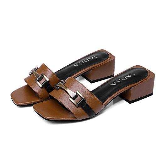Europa y los estados unidos retro metal hebilla sandalias/Cuero cabeza cuadrada sandalias/En bruto con zapatos simples C