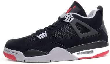 Amazon.com   Air Jordan 4 Retro (Black/Cement Grey-Fire Red) Mens ...