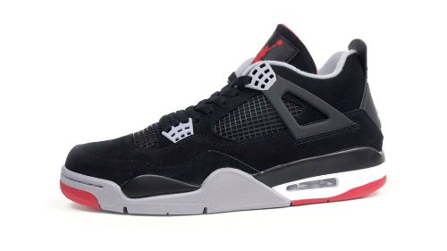 Air Jordan 4 Retro (Black/Cement Grey-Fire Red) Mens & GS