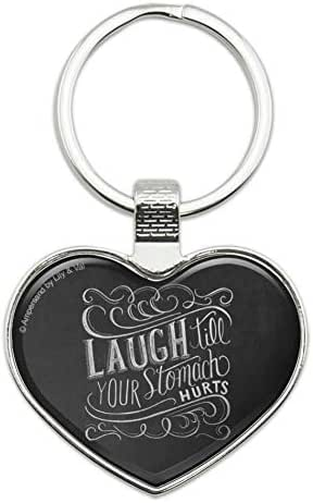 Laugh Till Your Stomach Hurts Keychain Heart Love Metal Key Chain Ring