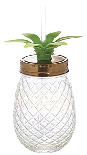 Slant Collections 16 Ounce Glass Pineapple Sipper Clear Pineapple Tumbler With Straw and Lid Mason Jar