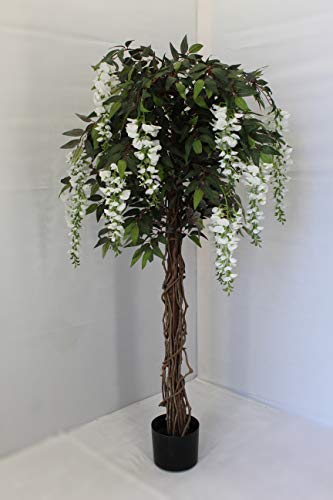 Unique Forest Arts 4.8' White Wisteria Silk Tree Flower Tree Artificial Tree Home,Office,Wedding Decoration