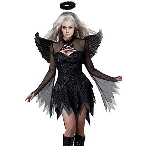 Devil Black Fallen Angel Dress Sexy Halloween Costume -