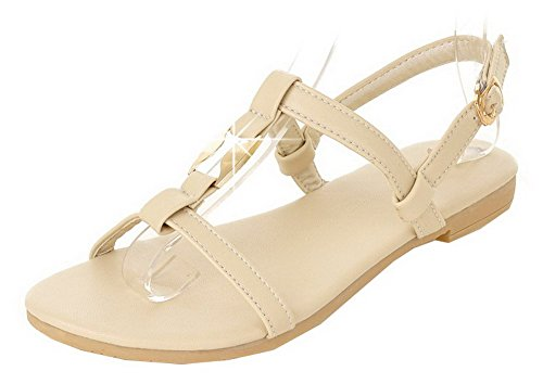 VogueZone009 Women Low-Heels Soft Material Solid Buckle Open-Toe Sandals Beige
