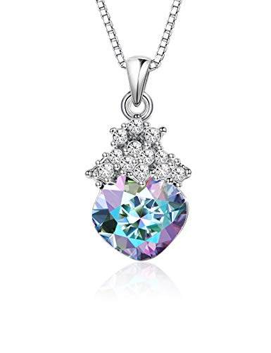 (KesaPlan Purple Crystal Necklace for Women Jewelry Aurora Square Pendant Necklace, Made with Swarovski Crystals, Adjustable Jewelry with Extender Chain)