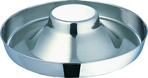 Indipets Extra Heavy Stainless Steel Puppy Saucer with Raised Center 15-Inch Diameter - Litter Dish