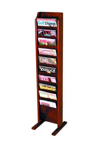 Wooden Mallet 10-Pocket Cascade Free-Standing Magazine Rack, Mahogany (Rack Pocket Freestanding Magazine)