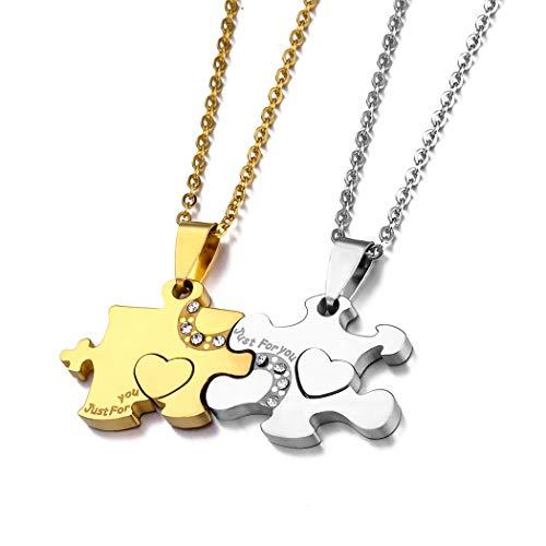 Parejas Joyas Acero inoxidable Puzzle Promesa Compañero Colgante collar Regalo para la novia Novio El mejor amigo (JUST FOR YOU)
