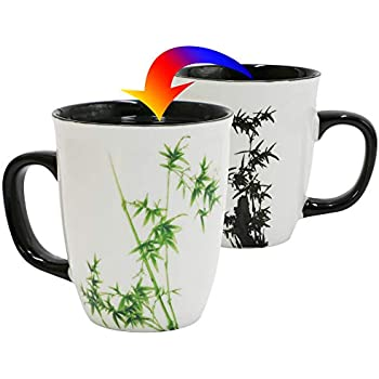 35f477af275 Asmwo Funny Ceramic Magic Heat Color Changing Coffee Mug with Bamboo  Printing for Women Personalized White Green Tea Cup Large Mugs for Mom,Girl,  ...