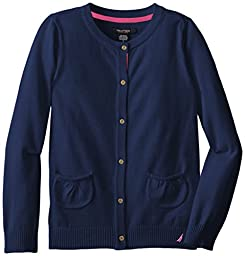 Nautica Big Girls\' Jersey Sweater with Pockets, Medium Navy, 7