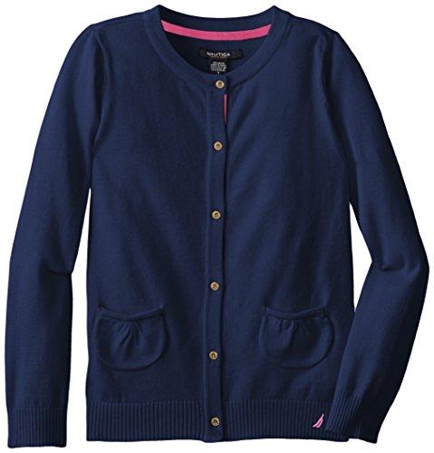 Nautica Big Girls' Jersey Sweater with Pockets, Medium Navy, 10 ()