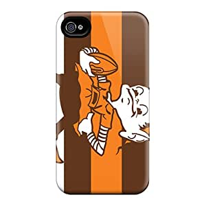 Protective Cell-phone Hard Cover For Apple Iphone 4/4s With Customized Realistic Cleveland Browns Pictures ZabrinaMcVeigh